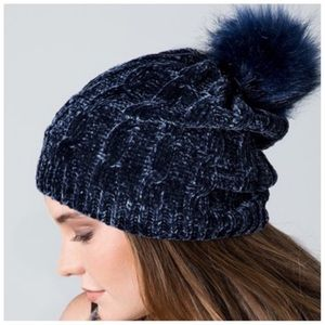 Navy blue soft chenille faux fur pom beanie